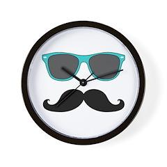 Mustache Blue Sunglasses Wall Clock