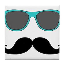 Mustache Blue Sunglasses Tile Coaster