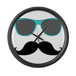 Mustache Blue Sunglasses Large Wall Clock