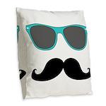 Mustache Blue Sunglasses Burlap Throw Pillow