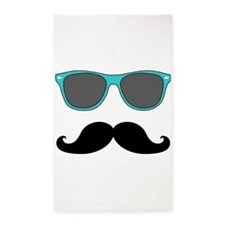 Mustache Blue Sunglasses 3'x5' Area Rug