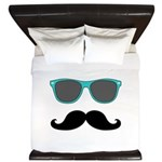 Mustache Blue Sunglasses King Duvet