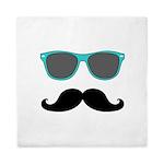 Mustache Blue Sunglasses Queen Duvet