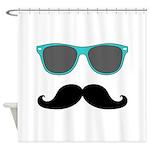Mustache Blue Sunglasses Shower Curtain
