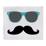 Mustache Blue Sunglasses Throw Blanket