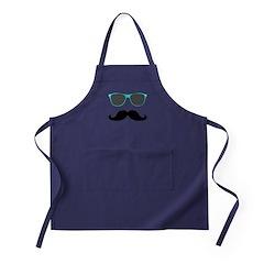Mustache Blue Sunglasses Apron (dark)