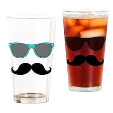 Mustache Blue Sunglasses Drinking Glass