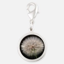 Wishing Flower Silver Round Charm