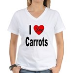 I Love Carrots (Front) Women's V-Neck T-Shirt