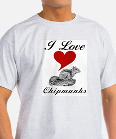 I Love Chipmunks Ash Grey T-Shirt