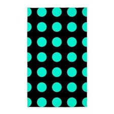 Teal and Black Large Polka Dots 3'x5' Area Rug