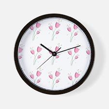 Romantic pink floral pattern Wall Clock