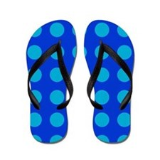 Large Blue Polka Dotted Flip Flops