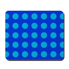 Large Blue Polka Dotted Mousepad
