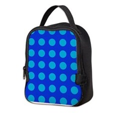Large Blue Polka Dotted Neoprene Lunch Bag