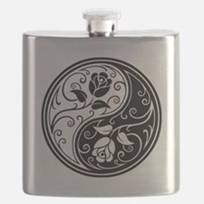 White and Black Yin Yang Roses Flask