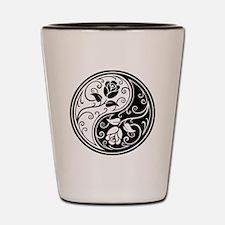 White and Black Yin Yang Roses Shot Glass