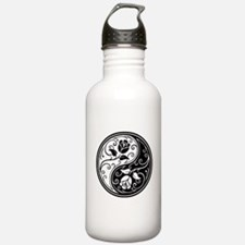 White and Black Yin Yang Roses Water Bottle