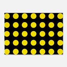 Black and Yellow Large Polka Dots 5'x7'Area Rug