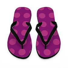 Raspberry Polka Dotted Flip Flops