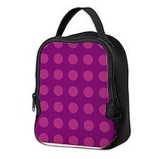 Raspberry Polka Dotted Neoprene Lunch Bag