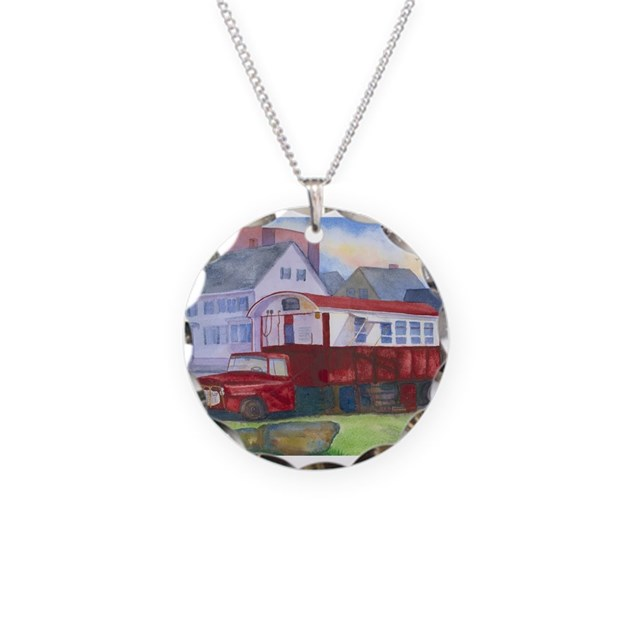 Gilleys Diner Portsmouth Nh Necklace Circle Charm By Roseannmeservewatercolors