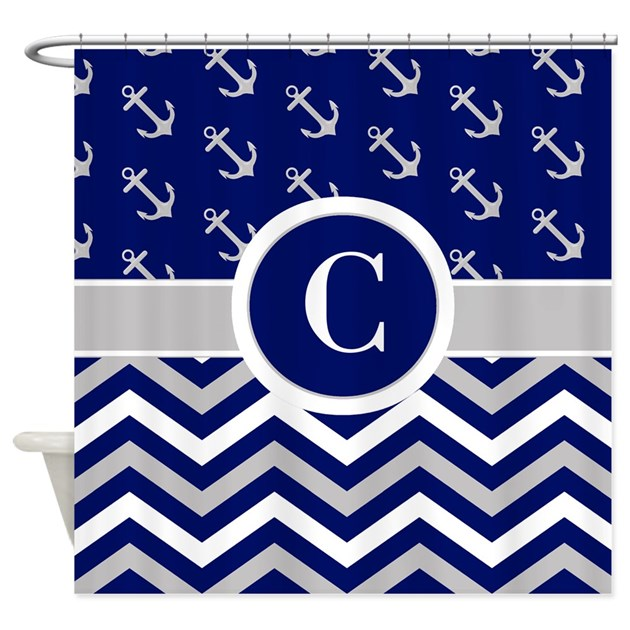 Navy Gray Chevron Anchors Monogram Shower Curtain By