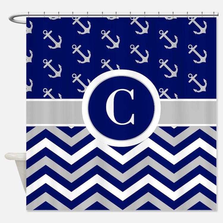 Navy Blue Grey Shower Curtains