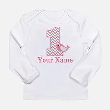 1st Birthday Pink Green Bird Long Sleeve T-Shirt