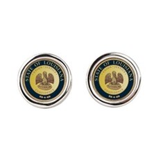Louisiana Seal.png Round Cufflinks