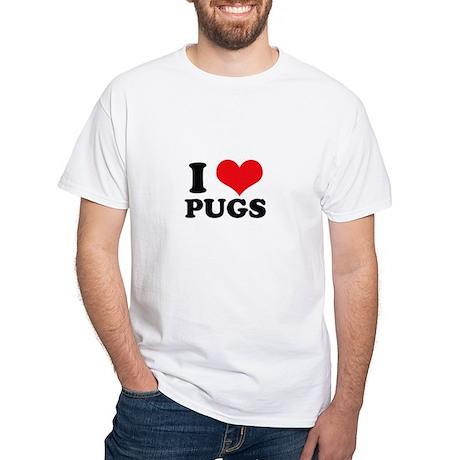 I Heart Pugs White T-Shirt