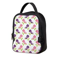 Lavender and Pink Birdies Neoprene Lunch Bag