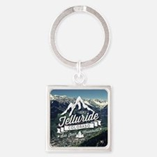 Telluride Mountain Vintage Square Keychain