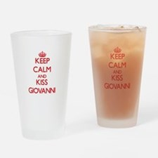 Keep Calm and Kiss Giovanni Drinking Glass