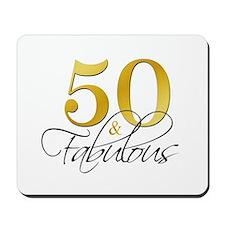 50 and Fabulous Black Gold Mousepad