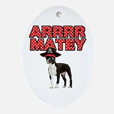 Pirate Boston Terrier Ornament (Oval)