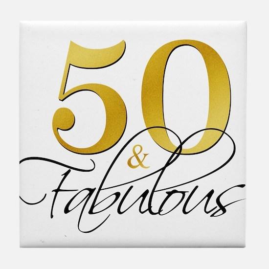 50 and Fabulous Black Gold Tile Coaster
