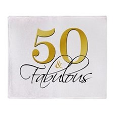 50 and Fabulous Black Gold Throw Blanket