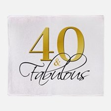 40 and Fabulous Black Gold Throw Blanket