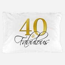 40 and Fabulous Black Gold Pillow Case