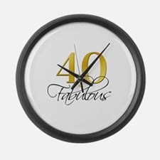40 and Fabulous Black Gold Large Wall Clock