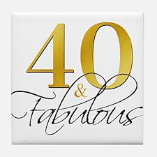 40 and Fabulous Black Gold Tile Coaster