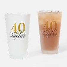 40 and Fabulous Black Gold Drinking Glass