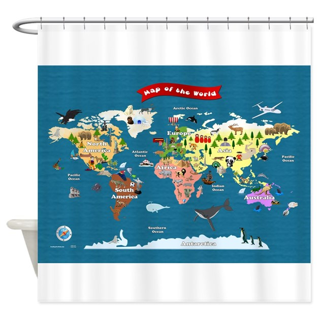 World map for kids let s explore shower curtain by funmapsforkids