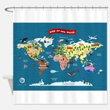 World Map For Kids - Let's Explore Shower Curtain