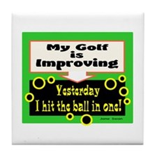 My Golf Is Improving/Jane Swan/ Tile Coaster