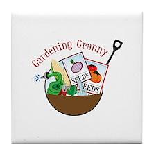 Gardening Granny Tile Coaster