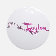 Taylor Flower Name Plate Ornament (Round)
