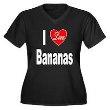 I Love Bananas (Front) Women's Plus Size V-Neck Da