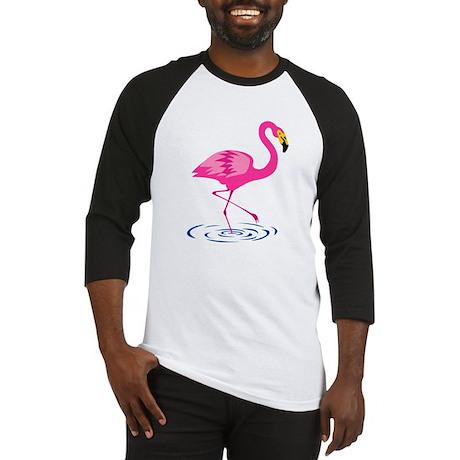 Pink Flamingo on One Leg Baseball Jersey